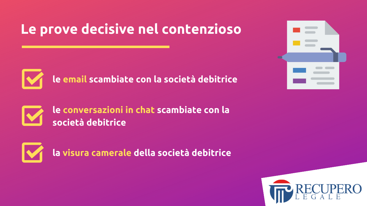 Recupero crediti avvocato Milano - prove decisive